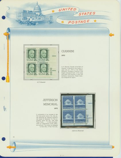 1970 USA MNH Sc# 1400, 1510 � Plt #�d Blks of 4 Stamps mounted on a White Ace Page � E2703