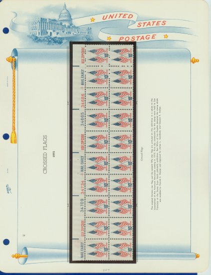 1973 USA MNH Sc# 1509 Plate #�d Block of 20 Stamps mounted on a WA Pg � US Flags � E2703