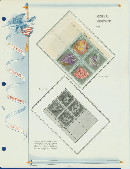 1974 USA MH Sc# 1538 �41 �Mineral Heritage Stamps on a WA Page � Plt #�d Blk of 4 �E2703