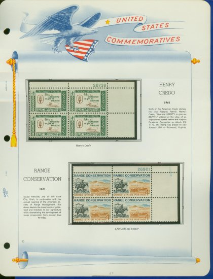 1961 USA MNH Scott# 1144, 76 Plate #�d Blocks of 4 Stamps mounted on a White Ace Page � E2703