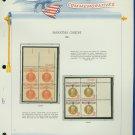 1961 USA MNH Sc# 1174, 5 Plt #'d Blks of 4 Stamps mounted on a WA Pg –Mahatma Gandhi– E2703