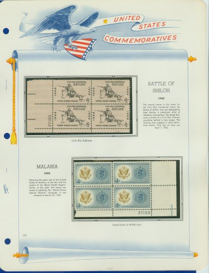 1962 USA MNH Scott# 1179, 94 Plate #�d Blocks of 4 Stamps mounted on a White Ace Page � E2703