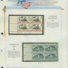 1962 USA MNH Scott# 1197, 98 Plate #'d Blocks of 4 Stamps mounted on a White Ace Page – E2703