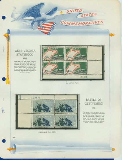 1963 USA MNH Scott# 1180, 1232 Plate #�d Blocks of 4 Stamps mounted on a White Ace Page � E2703