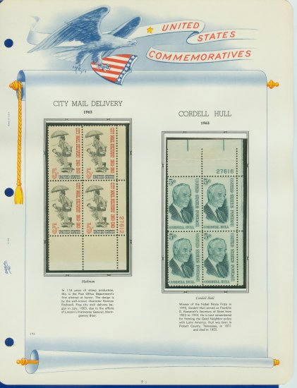 1963 USA MNH Scott# 1235, 1238 Plate #�d Blocks of 4 Stamps mounted on a White Ace Page � E2703