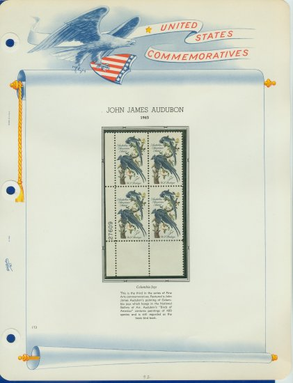 1963 USA MNH Sc# 1241 Plt #�d Blk of 4 Stamps mounted on a WA Pg �Columbia Jays� E2703