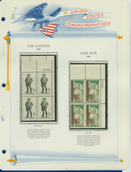 1964 USA MNH Scott# 1242, 1245 Plate #�d Blocks of 4 Stamps mounted on a White Ace Page � E2703