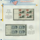 1964 USA MNH Scott# 1181, 1246 Plate #'d Blocks of 4 Stamps mounted on a White Ace Page – E2703