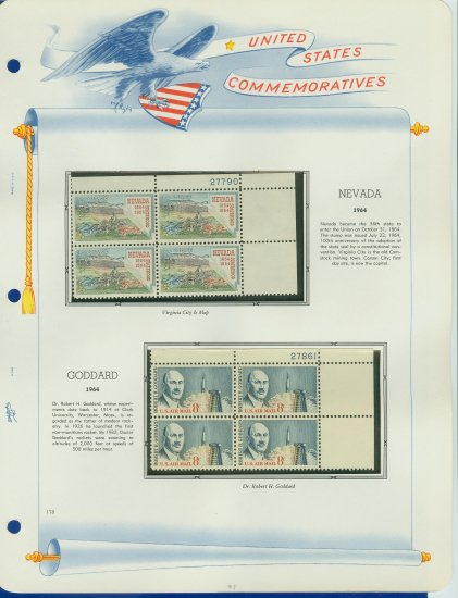 1964 USA MNH Scott# 1248, C69 Plate #�d Blocks of 4 Stamps mounted on a White Ace Page � E2703