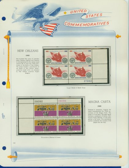 1965 USA MNH Scott# 1261, 1265 Plate #�d Blocks of 4 Stamps mounted on a White Ace Page � E2703