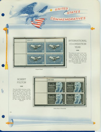 1965 USA MNH Scott# 1266, 1270 Plate #�d Blocks of 4 Stamps mounted on a White Ace Page � E2703