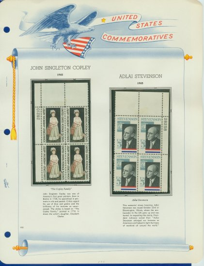 1965 USA MNH Scott# 1273, 1275 Plate #�d Blocks of 4 Stamps mounted on a White Ace Page � E2703
