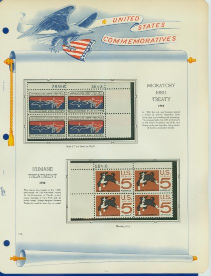 1966 USA MNH Scott# 1306, 1307 Plate #�d Blocks of 4 Stamps mounted on a White Ace Page � E2703