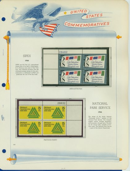 1966 USA MNH Scott# 1310, 1314 Plate #�d Blocks of 4 Stamps mounted on a White Ace Page � E2703