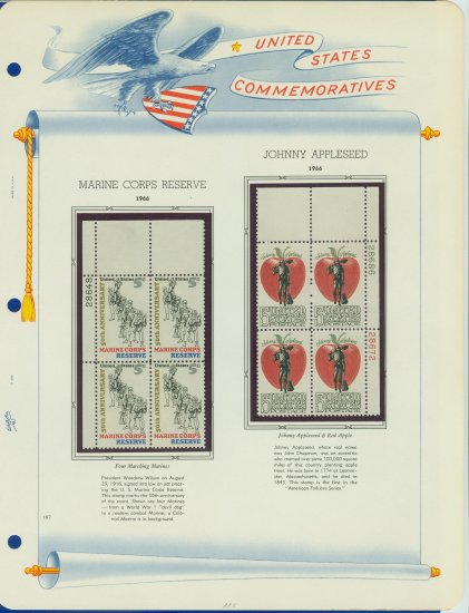 1966 USA MNH Scott# 1315, 1317 Plate #�d Blocks of 4 Stamps mounted on a White Ace Page � E2703