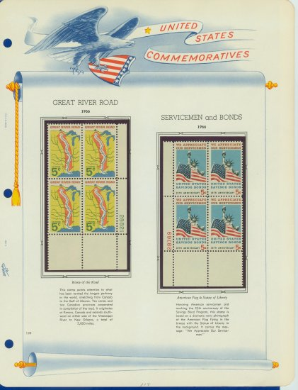 1966 USA MNH Scott# 1319, 1320 Plate #�d Blocks of 4 Stamps mounted on a White Ace Page � E2703