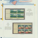 1967 USA MNH Scott# 1324, 1325 Plate #'d Blocks of 4 Stamps mounted on a White Ace Page – E2703