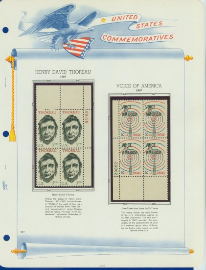1967 USA MNH Scott# 1327, 1329 Plate #�d Blocks of 4 Stamps mounted on a White Ace Page � E2703