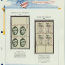 1967 USA MNH Scott# 1327, 1329 Plate #'d Blocks of 4 Stamps mounted on a White Ace Page – E2703