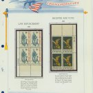 1968 USA MNH Scott# 1343, 1344 Plate #'d Blocks of 4 Stamps mounted on a White Ace Page – E2703