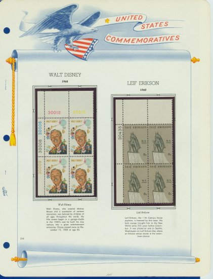 1968 USA MNH Scott# 1355, 1359 Plate #�d Blocks of 4 Stamps mounted on a White Ace Page � E2703