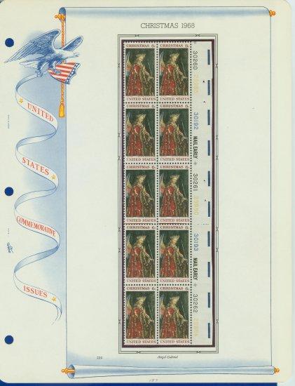 1968 USA MNH Sc# 1363 Plate #�d Block of 10 Stamps mounted on a WA Pg � Christmas � E2703