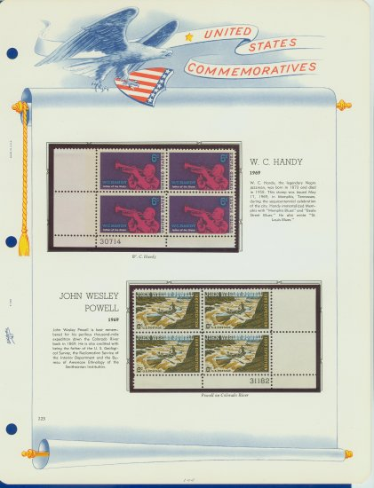 1969 USA MNH Scott# 1372, 1374 Plate #�d Blocks of 4 Stamps mounted on a White Ace Page � E2703