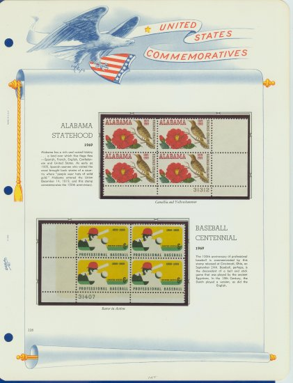 1969 USA MNH Scott# 1375, 1381 Plate #�d Blocks of 4 Stamps mounted on a White Ace Page � E2703