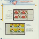 1969 USA MNH Scott# 1375, 1381 Plate #'d Blocks of 4 Stamps mounted on a White Ace Page – E2703