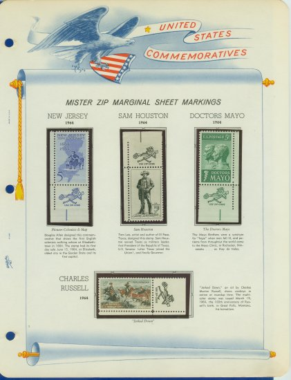 1964 USA MNH Scott# 1242 � 51 Mr. Zip Stamps mounted on a White Ace Page - E2703