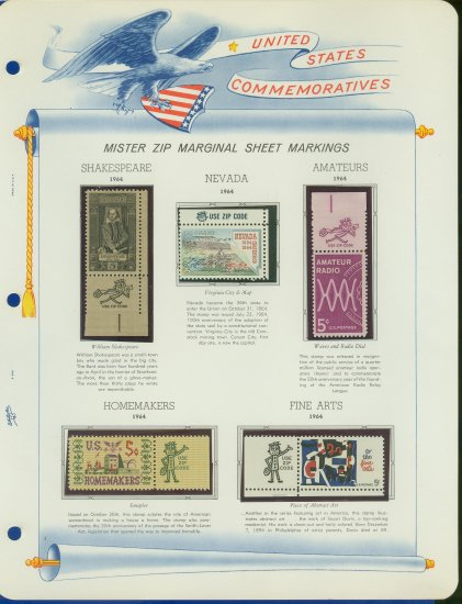 1964 USA MNH Scott# 1248, 50, 53, 59, 60 - Mr. Zip Stamps mounted on a White Ace Page - E2703