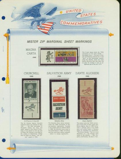 1965 USA MNH Scott# 1264 - 1268 - Mr. Zip Stamps mounted on a White Ace Page - E2703