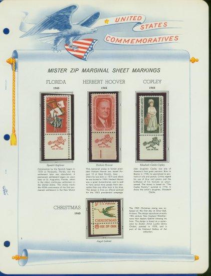 1965 USA MNH Scott# 1269, 71, 73, 76 - Mr. Zip Stamps mounted on a White Ace Page - E2703
