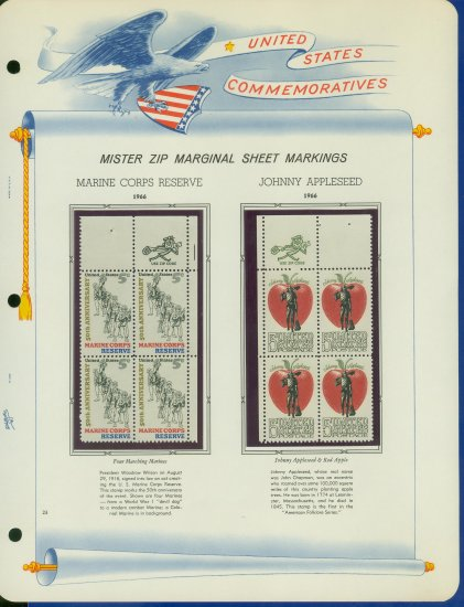 1966 USA MNH Scott# 1315, 17 - Mr. Zip Blocks of 4 Stamps mounted on a White Ace Page - E2703