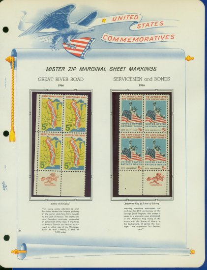 1966 USA MNH Scott# 1319, 20 - Mr. Zip Blocks of 4 Stamps mounted on a White Ace Page - E2703