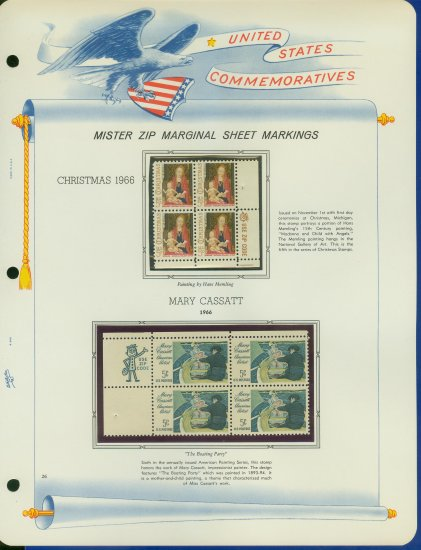 1966 USA MNH Scott# 1321, 22 - Mr. Zip Blocks of 4 Stamps mounted on a White Ace Page - E2703