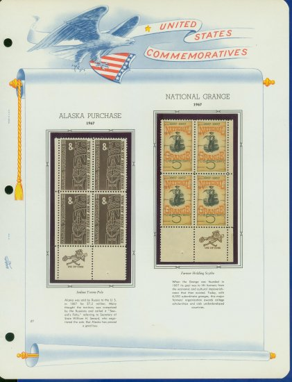 1967 USA MNH Scott# 1323, C70 - Mr. Zip Blocks of 4 Stamps mounted on a White Ace Page - E2703