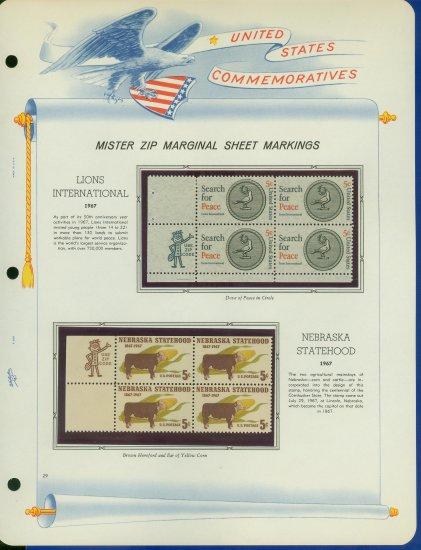 1967 USA MNH Scott# 1326, 28 - Mr. Zip Blocks of 4 Stamps mounted on a White Ace Page - E2703