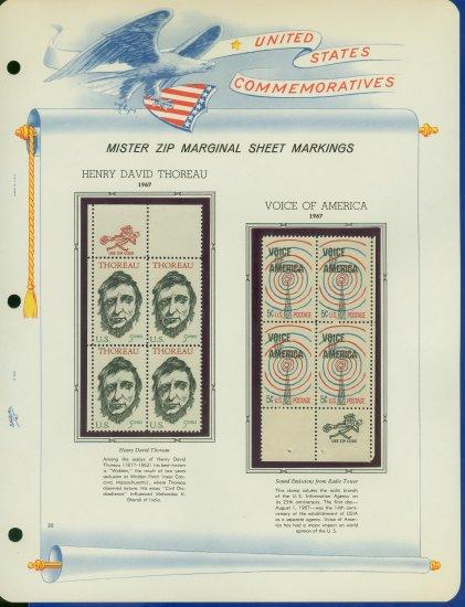 1967 USA MNH Scott# 1327, 29 - Mr. Zip Blocks of 4 Stamps mounted on a White Ace Page - E2703