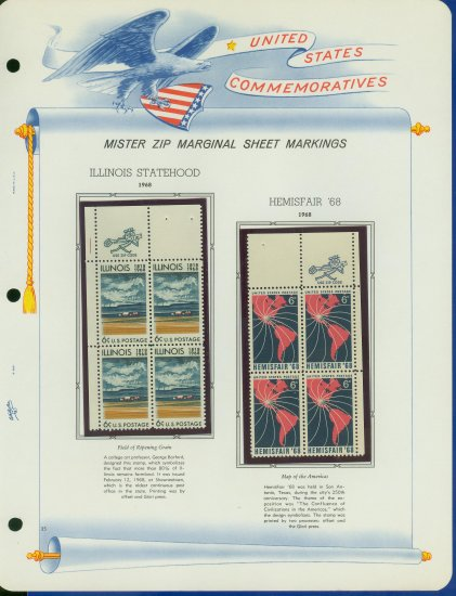 1968 USA MNH Scott# 1339, 40 - Mr. Zip Blocks of 4 Stamps mounted on a White Ace Page - E2703