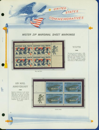 1968 USA MNH Scott# 1342, C74 - Mr. Zip Blocks of 4 Stamps mounted on a White Ace Page - E2703