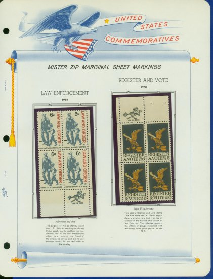 1968 USA MNH Scott# 1343, 44 - Mr. Zip Blocks of 4 Stamps mounted on a White Ace Page - E2703