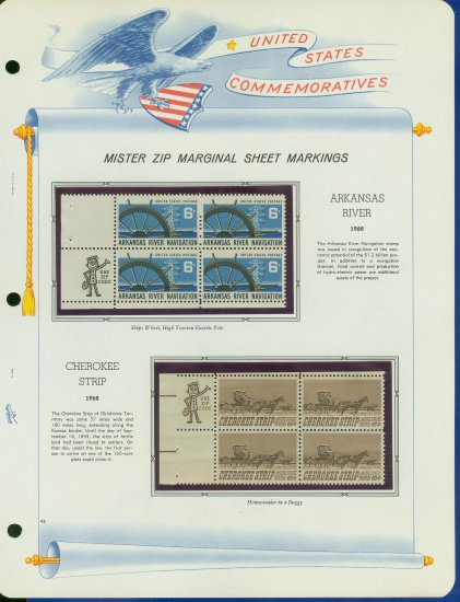 1968 USA MNH Scott# 1358, 60 - Mr. Zip Blocks of 4 Stamps mounted on a White Ace Page - E2703