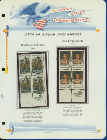 1968 USA MNH Scott# 1361, 64 - Mr. Zip Blocks of 4 Stamps mounted on a White Ace Page - E2703