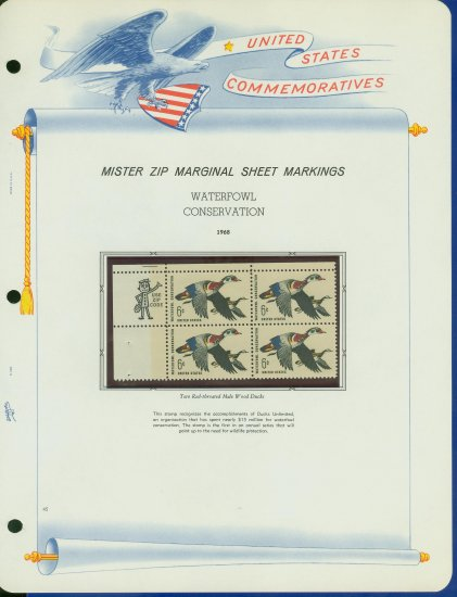 1968 USA MNH Scott# 1362 - Mr. Zip Block of 4 Stamps mounted on a White Ace Page - E2703