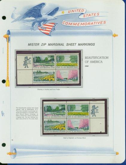 1969 USA MNH Scott# 1365 - 68 - Mr. Zip Blocks of 4 Stamps mounted on a White Ace Page - E2703