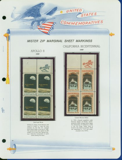 1969 USA MNH Scott# 1371, 73 - Mr. Zip Blocks of 4 Stamps mounted on a White Ace Page - E2703