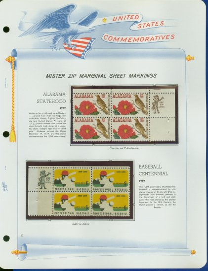 1969 USA MNH Scott# 1375, 81 - Mr. Zip Blocks of 4 Stamps mounted on a White Ace Page - E2703