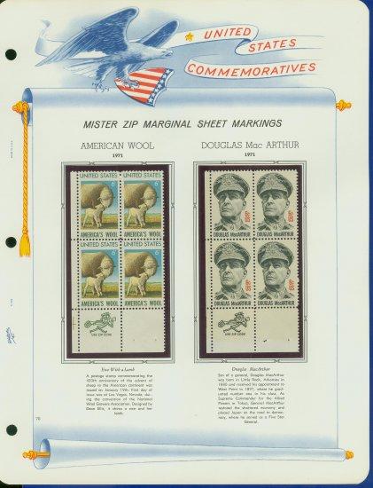 1971 USA MNH Scott# 1423, 24 - Mr. Zip Blocks of 4 Stamps mounted on a White Ace Page - E2703