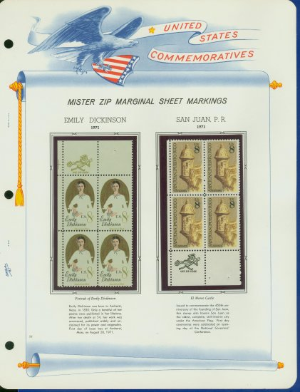 1971 USA MNH Scott# 1436, 1437 - Mr. Zip Blocks of 4 Stamps mounted on a White Ace Page - E2703